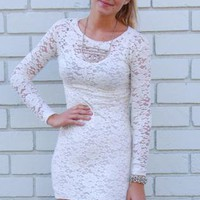 White Lace Long Sleeve Bodycon Dress