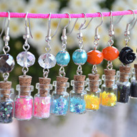 Tiny Veil Earrings / Miniature Bottle Earrings with Pink Hearts Glitter and Clear Crystal - Handmade by PinkSugArt