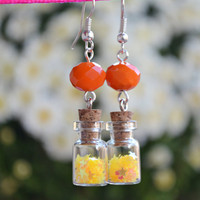 Miniature Bottle Earrings / Tiny Veil Earrings with Yellow Stars Glitter and Orange Crystal - Handmade by PinkSugArt