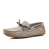 River Island MensStone suede driver shoes