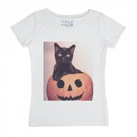 Black Cat on Pumpkin-Unisex White T-Shirt