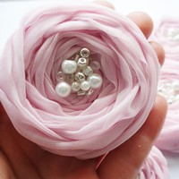 Pink Chiffon Roses Handmade Appliqu.. on Luulla