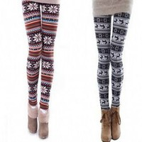 New Fashion Women&#x27;s Soft Knitted Warm Multi-patterns Leggings Tights Pants Z010
