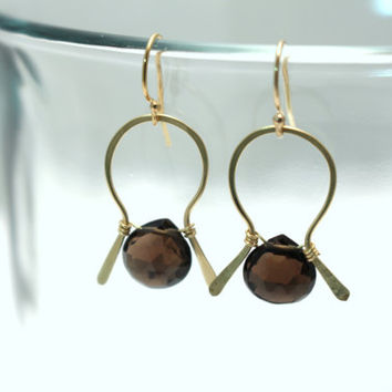 Smoky Quartz Gemstone Briolette Earrings- 14K Gold FIll or Sterling SIlver- Hand Hammered and Wire Wrapped