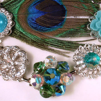Peacock Bracelet, Vintage Teal Blue, Emerald Green & Clear Rhinestone Turquoise Aqua Silver Bridal Bridesmaid Cluster Earring Bracelet Gift