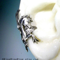 Hippocampus - horse silver ear cuff earring jewelry,  non pierced earcuff for men and women, Right  072412