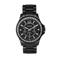 FOSSIL® Watch Collections Riley Watches:Women Riley Ceramic Watch - Black with Stones CE1011