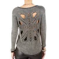 Olive Laser Cut Out Back Top