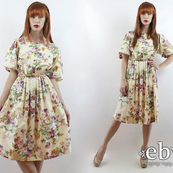 Vintage 80s Pale Yellow Floral Puff Sleeve Party Dress M L 80s Party Dress 80s Floral Dress Summer Dress Yellow Floral Dress