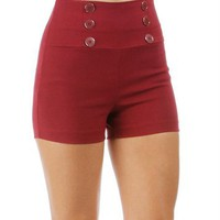 Burgundy High Waisted Button Shorts