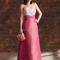 A-line Floor-length Sweetheart Satin Bridesmaid Dress With Lace at Msdressy