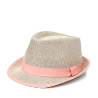 Ribbon-Trimmed Straw Fedora Hat by Charlotte Russe - Coral