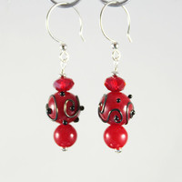 Red Glass Earrings Cherry Round with Silvered Scrollwork Lampwork Beads and Sterling Silver findings and Swarovski Crystals for Christmas