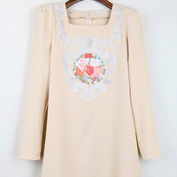 Apricot Long Sleeve Tribal Print Embroidery Dress - Sheinside.com