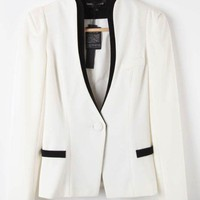 White Long Sleeve Single Button Pockets Suit - Sheinside.com