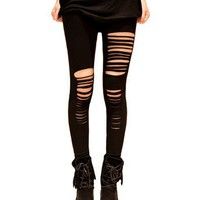 Ripped Detail Cotton Leggings In Punk Style