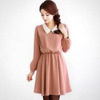 YESSTYLE: Orange Style- Peterpan-Collar Gathered-Waist Dress - Free International Shipping on orders over $150