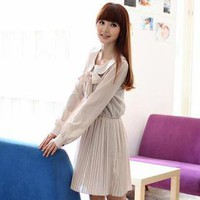 YESSTYLE: eFashion- Tie-Neck Pleated Dress (Beige - One Size) - Free International Shipping on orders over $150