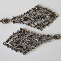 Victorian Filigree Earrings-Antiqued Silver-Lacy Diamond