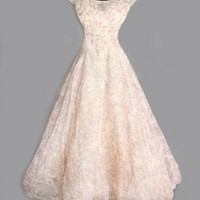 1950's Organza Cream Print Special Wedding Or Reception Dress- M VINTAGE WEDDING DRESSES & GOWNS 50's 40's 60's 70's 20's