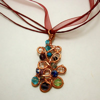Copper Wire Wrapped Pendent Necklaces OOAK