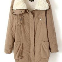 Sherpa Lapel Long Sleeve Warm Coat Khaki  S004386