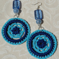 Crocheted  Earrings in Two Shades of Blue