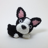 Boston Terrier Plush Puppy Stuffed Animal Handmade Crochet Dog Amigurumi Dog / Made to Order