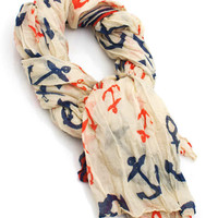 anchor-print-scarf CREAMNAVY - GoJane.com