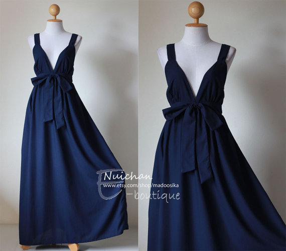 Long Navy Blue Maxi Dress Elegant Vstyled Neck Love by madoosika