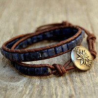 Blue beaded leather wrap bracelet. Sodalite cubes on brown leather bracelet. Boho chic jewelry