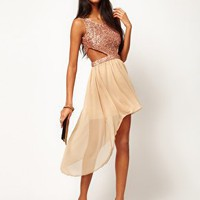 Rare Sequin Cut Out Dress With Chiffon Hi Lo Skirt at asos.com
