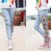 Vintage Detailed Woman Side Bow Cutout Ripped Denim Sexy Jeans Leggings