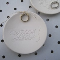 ring bowl calligraphy YES  Ring Bearer Bowl - the original wedding dish design from Paloma's Nest with Calligraphy by MM Ink