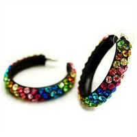 Josey's 2 Inch Multicolor Crystal Rainbow Design Black Hoop... - Polyvore