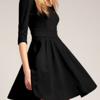 Black Vintage Half Sleeve Flare Short Dress - Sheinside.com
