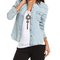 Studded-Shoulder Denim Shirt: Charlotte Russe