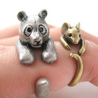 3D Panda Bear Ring in Silver - Sizes 5 to 10 Available by Dotoly