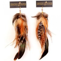 Fire  Ice Feather Earrings
