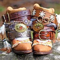 Upcycled REWORKED vintage luxury boho COWBOY BOOTS