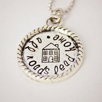 All roads lead home - Hand Stamped Necklace - Great Gift for Homesick Family, Deployed Soldiers, Going Away Present