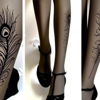 sexy Peacock FEATHER TATTOO gorgeous thighhigh socks GREY by post