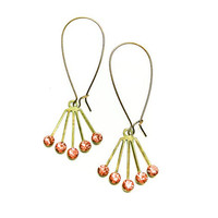 Coral Pink Lempicka Dangles-Swarovski Crystal Art Deco Earrings