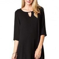 McKenzie Keyhole Shift Dress in Black - ShopSosie.com