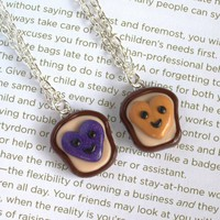 Handmade Heart Peanut Butter and Jelly Best Friends Necklaces  - Whimsical &amp; Unique Gift Ideas for the Coolest Gift Givers