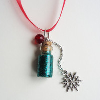 Christmas in a Bottle - glass bottle jewelry