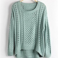 Green Jumpers with Cut Out Design and High Low Hem