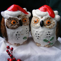 Vintage Salt and Pepper Shakers Christmas Owls by GSArcheologist