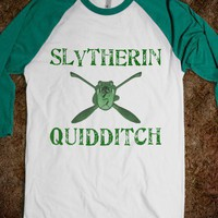 Slytherin Quidditch Long Sleeve-Unisex White/Evergreen T-Shirt