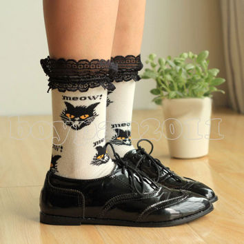Lace Ankle Cat Socks